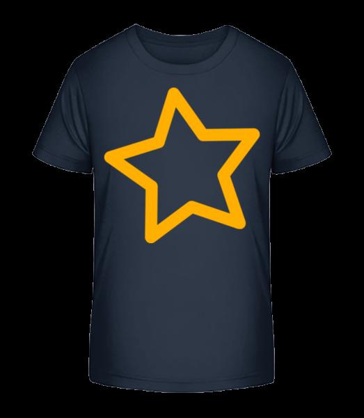 Simple Star - Detské Premium Bio tričko - Namořnická modrá - Napřed