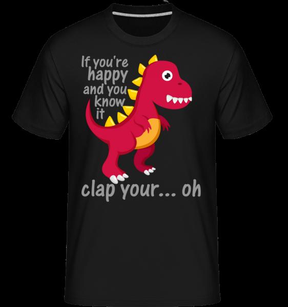 T-Rex Clap Vy Hands - Shirtinator tričko pro pány - Černá - Napřed