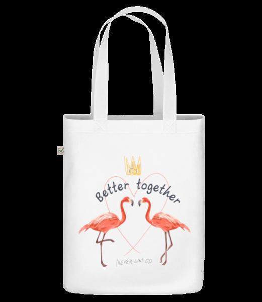 """Lepší spolupráce Flamingos - Organická taška """"Earth Positive"""" - Bílá - Napřed"""