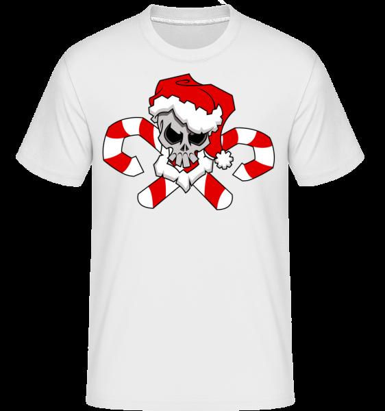 Vánoční Lebka -  Shirtinator tričko pro pány - Bílá - Napřed