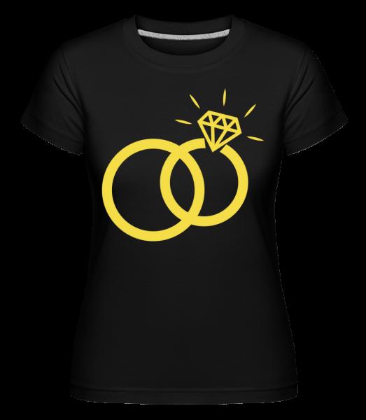Svatební prsteny -  Shirtinator tričko pro dámy - Černá - Napřed