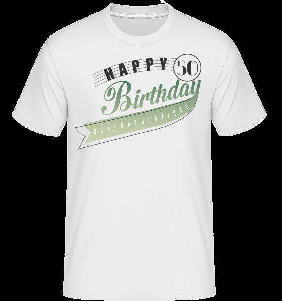 Happy 50 Birthday -  Shirtinator tričko pro pány - Bílá - Napřed