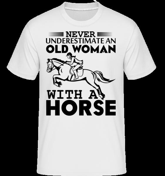 Stará žena s koněm -  Shirtinator tričko pro pány - Bílá - Napřed
