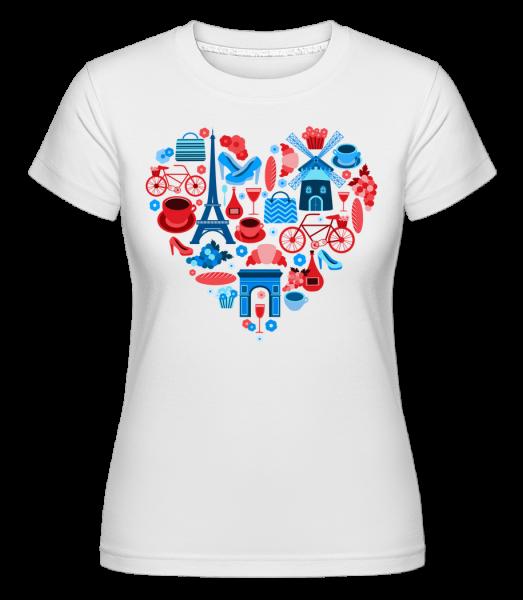 Paris Love Heart -  Shirtinator tričko pro dámy - Bílá - Napřed