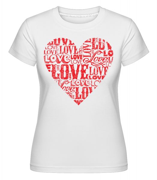 Love Heart Red - Shirtinator tričko pro dámy - Bílá - Napřed