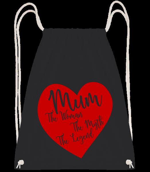 Mum - The Legend - Drawstring batoh se šňůrkami - Černá - Napřed