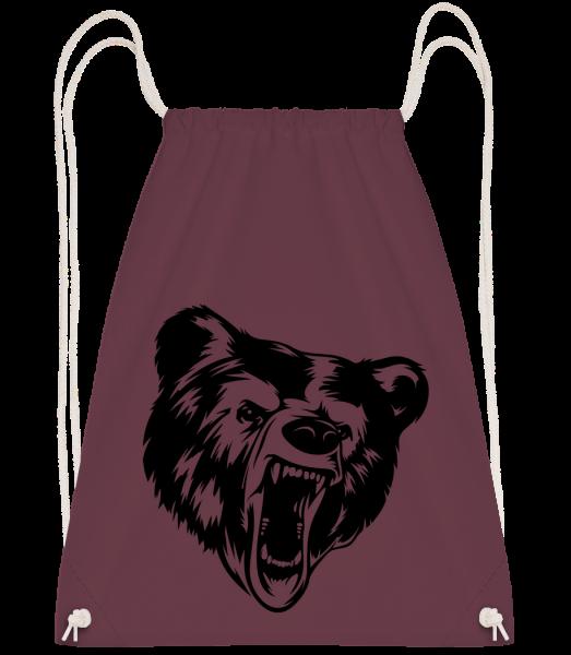 Wild Bear Icon - Drawstring batoh se šňůrkami - Bordeaux - Napřed