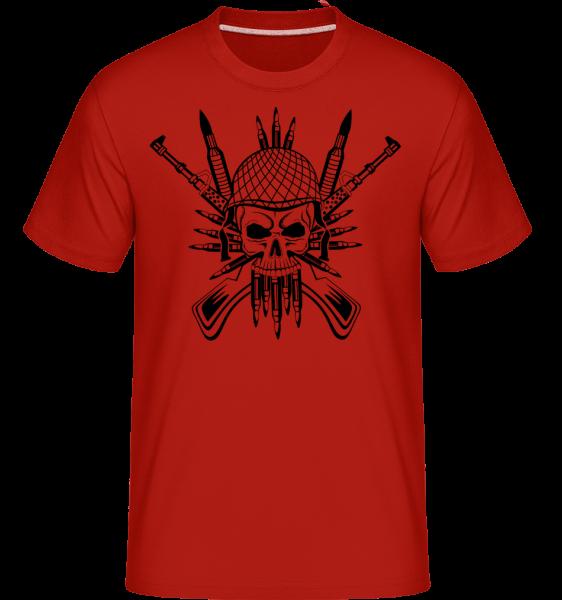 Voják Skull Tattoo - Shirtinator tričko pro pány - Červená - Napřed