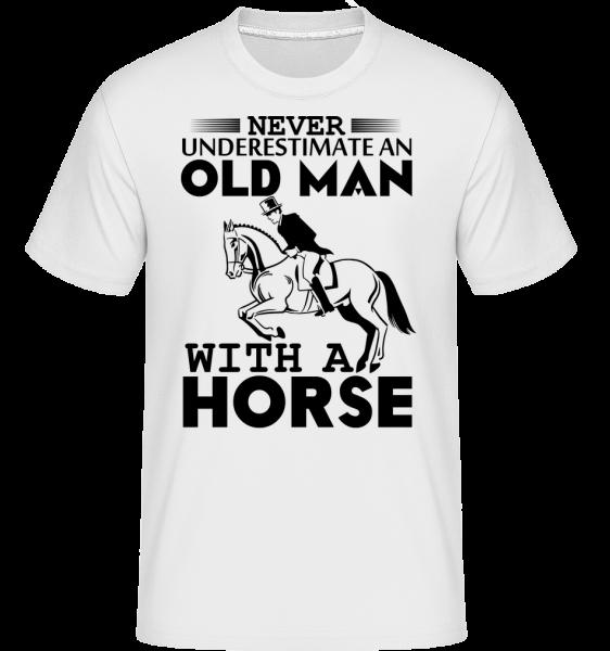 Starý muž s koněm -  Shirtinator tričko pro pány - Bílá - Napřed
