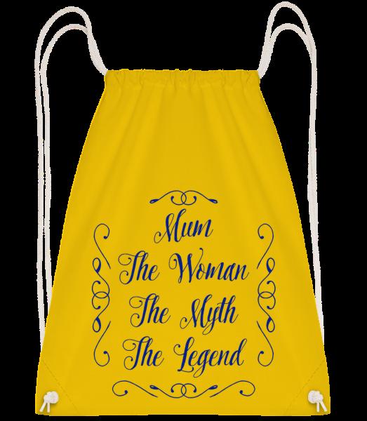 Mum - The Legend - Drawstring batoh se šňůrkami - Žlutá - Napřed