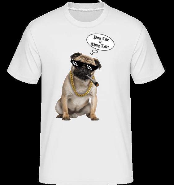 Pug Life Thug Life -  Shirtinator tričko pro pány - Bílá - Napřed