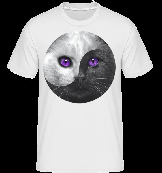 Jin a jang Cat - Shirtinator tričko pro pány - Bílá - Napřed