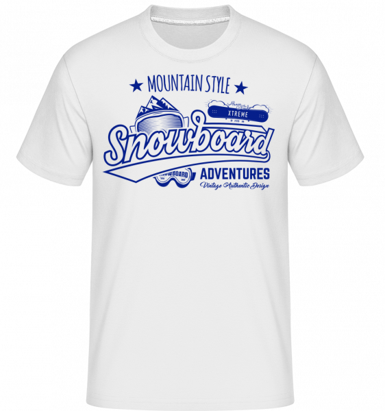 Snowboarding Mountain Style Logo - Shirtinator tričko pro pány - Bílá - Napřed