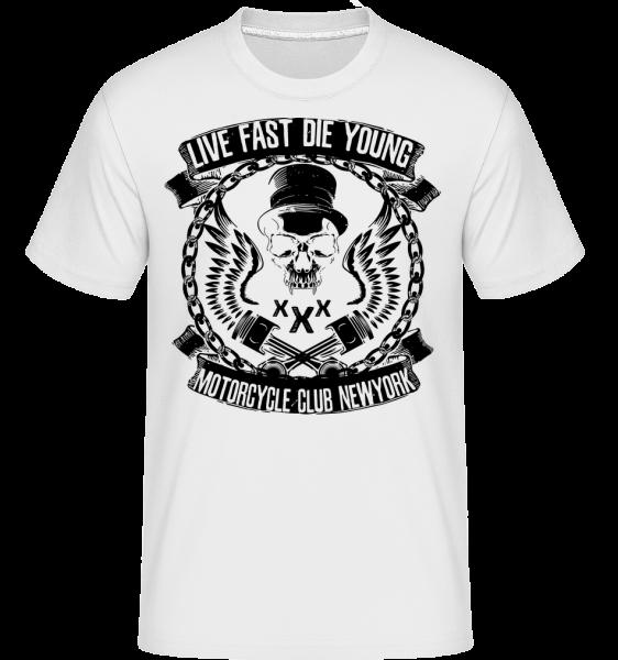 Živé Fast Die Young Skull -  Shirtinator tričko pro pány - Bílá - Napřed