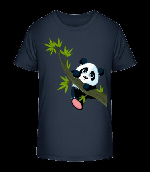 Panda na větvi - Detské Premium Bio tričko - Namořnická modrá - Napřed