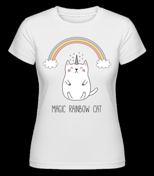 Magie Duha Cat -  Shirtinator tričko pro dámy - Bílá - Napřed