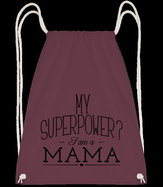 Superpower Mama - Drawstring batoh se šňůrkami - Bordeaux - Napřed
