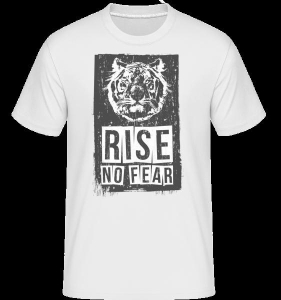 Rise No Fear Tiger -  Shirtinator tričko pro pány - Bílá - Napřed