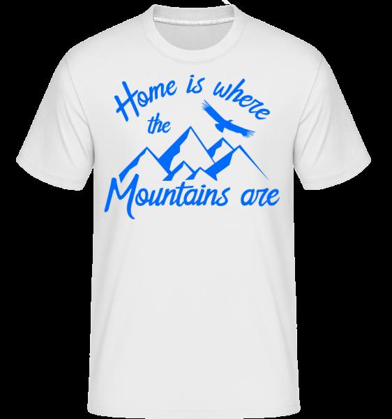 Home je místo, kde jsou hory -  Shirtinator tričko pro pány - Bílá - Napřed