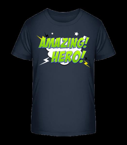 Amazing Hero Icon - Detské Premium Bio tričko - Namořnická modrá - Napřed