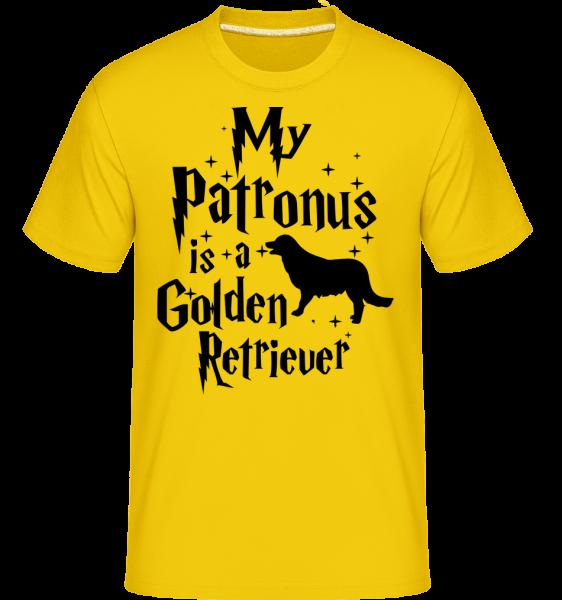 Můj patron je zlatý retrívr -  Shirtinator tričko pro pány - Zlatožlutá - Napřed