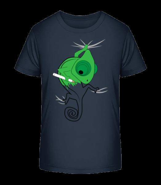 Chameleon Kids Comic - Detské Premium Bio tričko - Namořnická modrá - Napřed