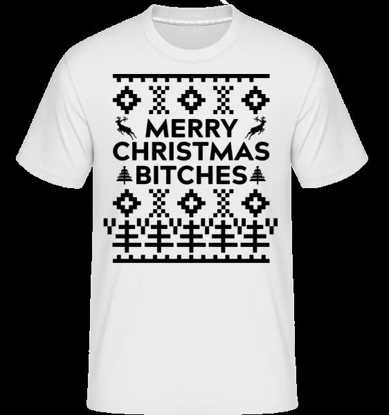 Merry Christmas Bitches -  Shirtinator tričko pro pány - Bílá - Napřed