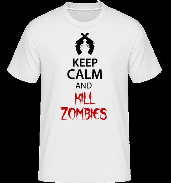 Zachovat klid zabít zombie - Shirtinator tričko pro pány - Bílá - Napřed