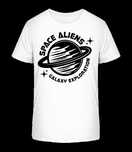 Space Aliens Galaxy Exploration - Detské Premium Bio tričko - Bílá - Napřed