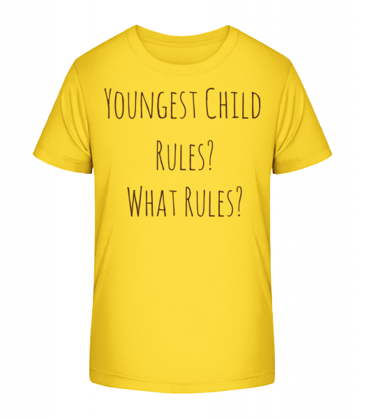 Nejmladší dítě - Detské Premium Bio tričko - Žlutá - Napřed