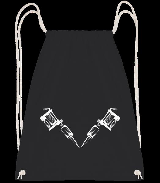 Tattoo Machine Tattoo - Drawstring batoh se šňůrkami - Černá - Napřed
