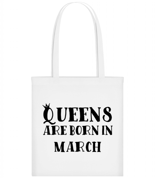 Queens Are Born In March - Taška Carrier - Bílá - Napřed