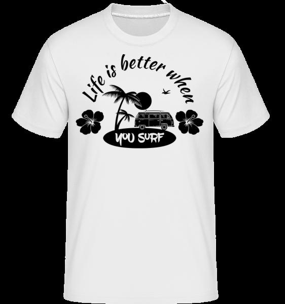 Life Is Better When You Surf -  Shirtinator tričko pro pány - Bílá - Napřed