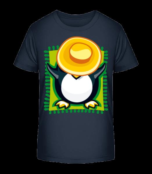 Penguin Sunbath - Detské Premium Bio tričko - Namořnická modrá - Napřed
