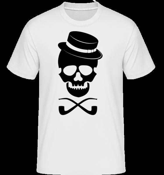 Lebka s kloboukem -  Shirtinator tričko pro pány - Bílá - Napřed