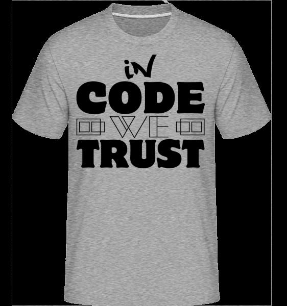 V zákoníku Věříme, - Shirtinator tričko pro pány - Melirovĕ šedá - Napřed