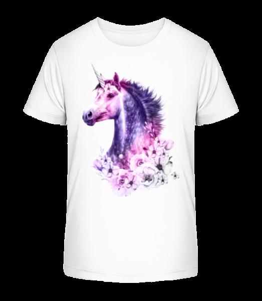 květiny Unicorn - Detské Premium Bio tričko - Bílá - Napřed