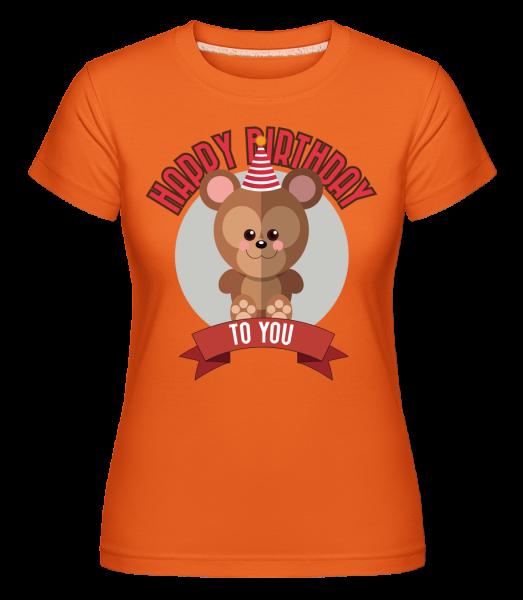 Happy Birthday To You Monkey -  Shirtinator tričko pro dámy - Oranžová - Napřed