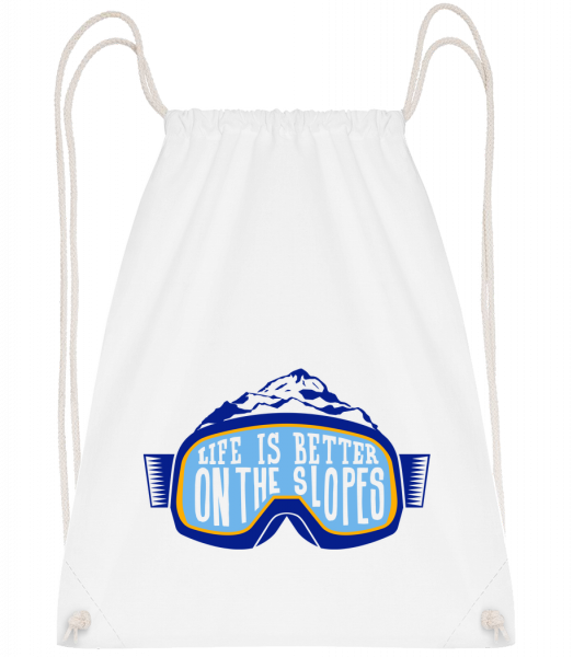 Life Is Better On The Slopes - Drawstring batoh se šňůrkami - Bílá - Napřed