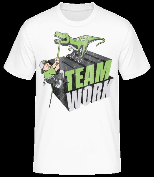Dinosaur Teamwork - Basic T-Shirt - Bílá - Napřed