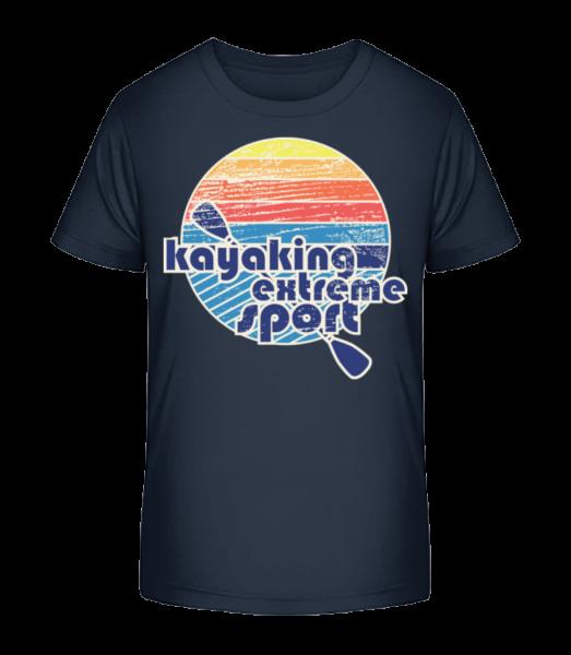 Jízda na kajaku Logo - Detské Premium Bio tričko - Namořnická modrá - Napřed