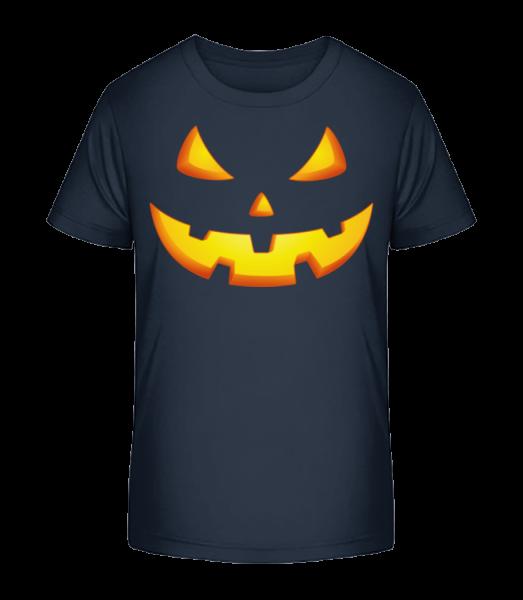 Pumpkin Face Evil - Detské Premium Bio tričko - Namořnická modrá - Napřed