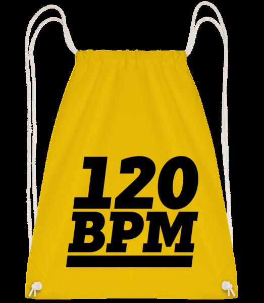 120 BPM Logo - Drawstring batoh se šňůrkami - žlutá - Napřed