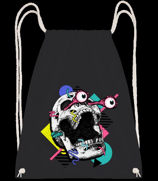 Skull Shocked - Drawstring batoh se šňůrkami - Černá - Napřed