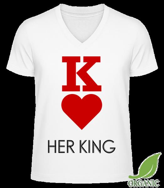 """Her King - """"James"""" Organické tričko s V-výstřihem - Bílá - Napřed"""