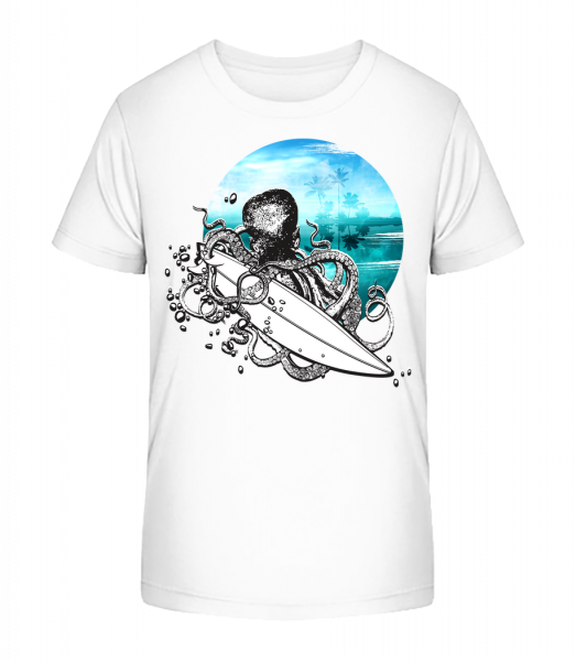 Surfer Octopus - Detské Premium Bio tričko - Bílá - Napřed