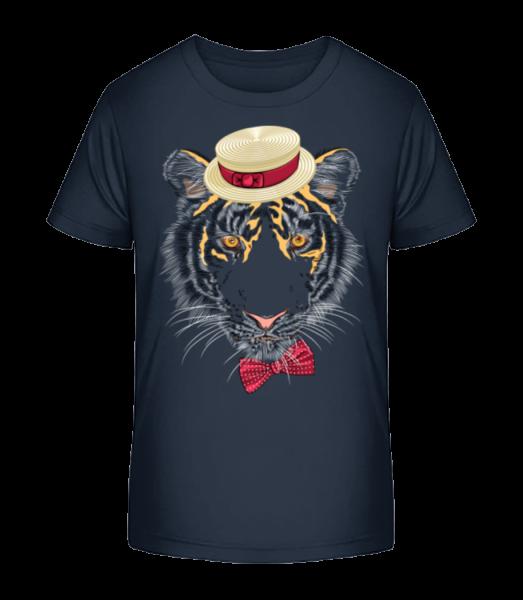 Tiger s kloboukem - Detské Premium Bio tričko - Namořnická modrá - Napřed