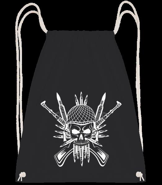 Soldier Skull Tattoo - Drawstring batoh se šňůrkami - Černá - Napřed