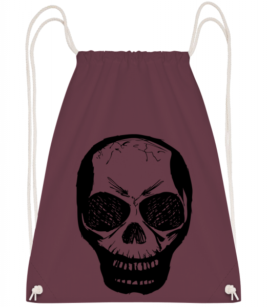 Skull Black - Drawstring batoh se šňůrkami - Bordeaux - Napřed