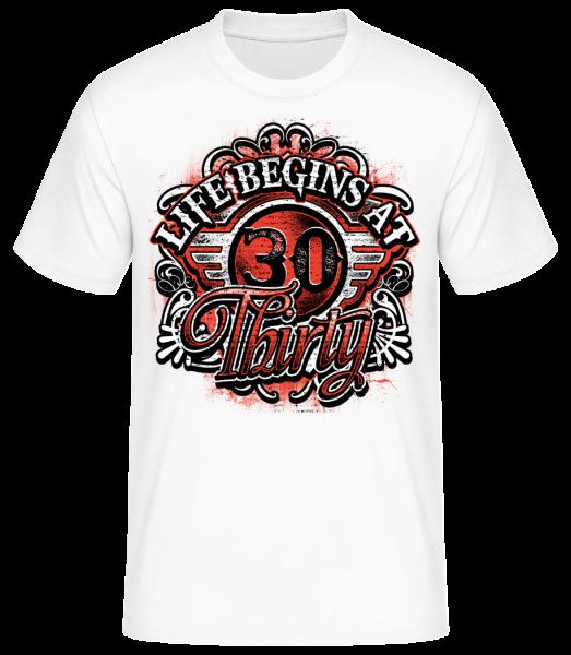 Život začíná v 30 - Pánské basic tričko - Bílá - Napřed